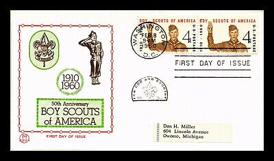 Dr Jim Stamps Us Boy Scouts Of America Tri Color Fdc Cover Scott Pair 1145
