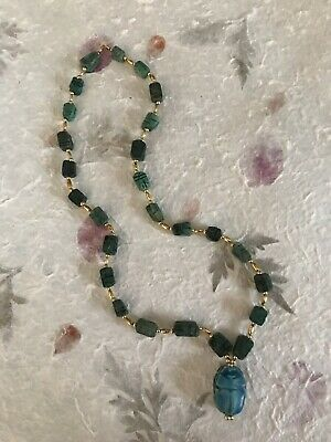 Great Vintage Egyptian Revival Blue Faience Scarab Gold Tone Bead Necklace