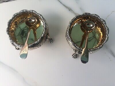 Pair of George IV Silver Salts with gilded inlay and silver spoons