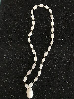 Great Vintage Egyptian Revival White Scarab Gold Tone Bead Necklace
