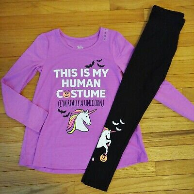NWT Justice Girls Outfit Halloween Unicorn Top/Leggings Size 6 7 8 10 14 16