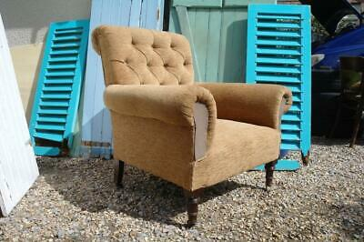 Antique Victorian Howard Style Armchair Country Estate Chair Signed Rustic Chic