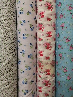 polycotton floral fabric metre vintage shabby chic craft bunting materia