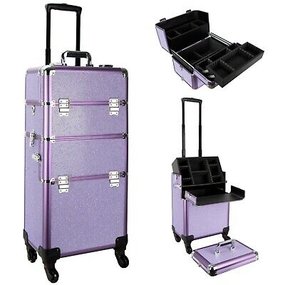 Ver Beauty Rolling Train Makeup Case Organizer with Trays and Compartmetns by VB