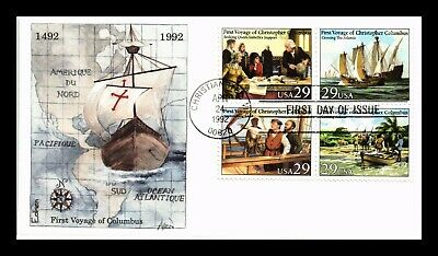 Dr Jim Stamps Us First Voyage Of Columbus Edken Fdc Cover Scott 2620-23 Block