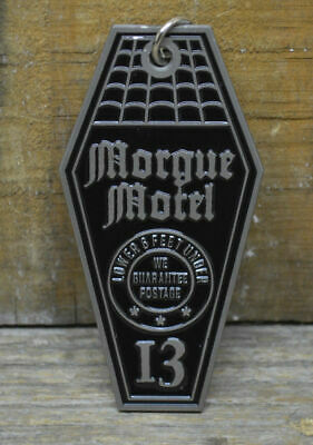 Coffin Hotel Morgue Motel Keychain Rat Hot Rod Goth Rockabilly Vlv Pinup Fob 13