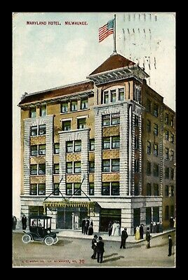 Dr Jim Stamps Us Maryland Hotel Milwaukee Wisconsin Postcard 1910