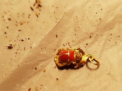 Rare Antique Ancient Egyptian Gold Scarab Good Luck Lapis Lazuli 1750-1670BC