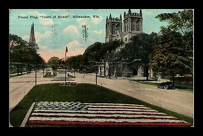 Dr Jim Stamps Us Floral Flag Court Of Honor Milwaukee Creased Postcard