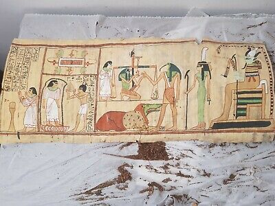 Rare Antique Ancient Egyptian Papyrus Judgement Day Scale paradise 1860-1780BC