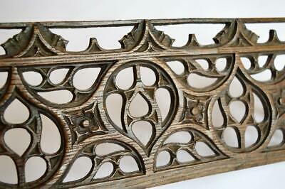 Rare Original Antique Medieval Gothic Church Carved Tracery Oak Wood Panel