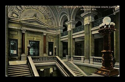 Dr Jim Stamps Us Stairway State Capitol Interior Madison Wisconsin Postcard