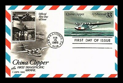 Dr Jim Stamps Us China Clipper Transpacific Air Mail Fdc Postal Card Art Craft