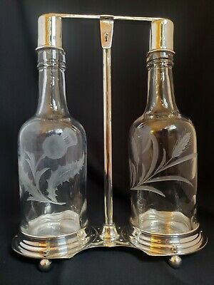 Abp Pair Signed Hawkes Glass Thistle & Wheat Decanters W/ Silverplate Tantalus