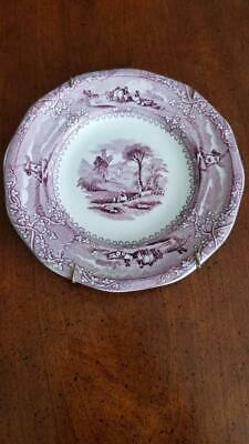 Antique Mid 1800 Staffordshire Mulberry Eon Pattern Ironstone Transferware Plate