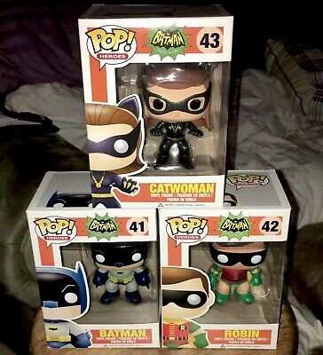 Funko Pop Heroes 1966 Batman Classic TV Series BATMAN-ROBIN-CATWOMAN Vaulted