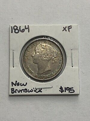 1864 Canada New Brunswick Twenty Cents 20c Silver Coin ~ Queen Victoria