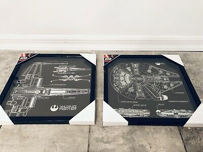 2 Lot Star Wars Framed Print Photo Poster Picture Millennium Falcon Xwing Disney