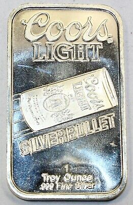 Coors Light Silver Bullet Sunshine Mining Company 1 oz .999 Silver Fine Bar