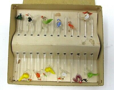 Vintage West Germany Hand Blown Glass Swizzle Sticks Colorful Birds Lot Of 12