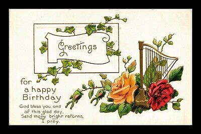 Dr Jim Stamps Us Happy Birthday Greetings Topical Flowers Embossed Postcard