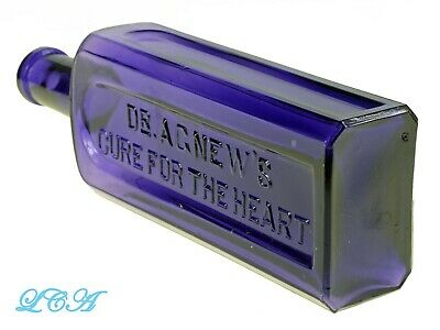 Dr AGNEW'S CURE for the HEART purple BIG RECTANGLE antique bottle QUACK POT CURE