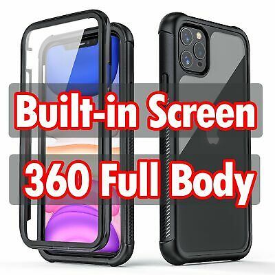 Built-in Screen Protector Full Body Case Cover for iPhone 11 Pro XR XS Max X