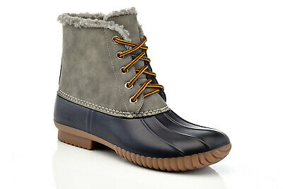 Women's Gray Cold Weather Warm Fur Insulated Waterproof Lace Up Duck Boots 6-11