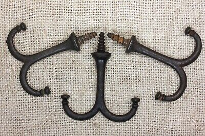 3 Coat Hooks under closet shelf cup hangers farmhouse old vintage rustic iron