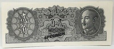 China 1946 ... Rare Type 20 Cents ... Specimen Note Hard To Find ..Uncirculated