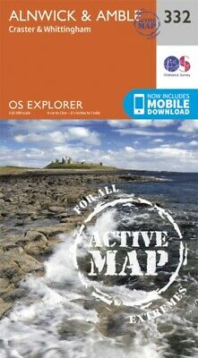 OS Explorer Map Active (332) Alnwick and Amble, Craster and Whitt...