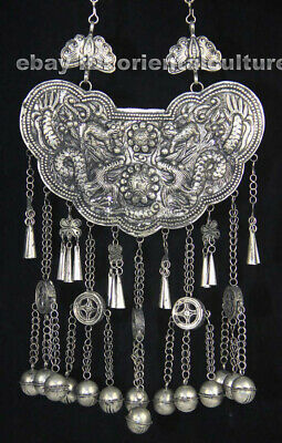 Tribal Exotic Chinese Handmade Miao Silver bell Necklace