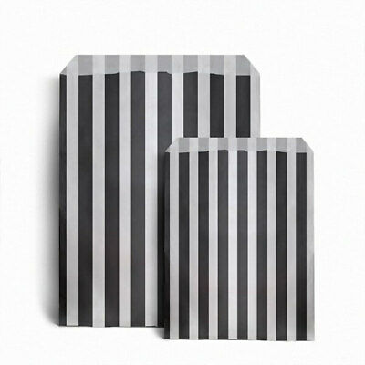 """BLACK 7"""" x 9"""" STRIPED CANDY PAPER BAGS FOR SWEET FAVOUR WEDDING CAKE SHOP"""