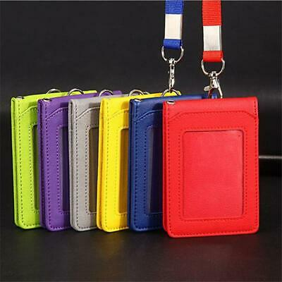 School ID Badge Business Card PU Leather Vertical Neck Strap Holder YI