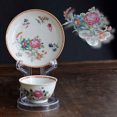 Antique Chinese Porcelain teacup & saucer Qianlong Period Famille Rose