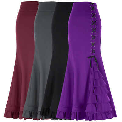 Womens Maxi Fishtail Victorian Gothic Skirt Party Long Steampunk Mermaid Skirts