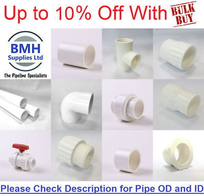 """White Swimming Pool/Pond Pressure Pipe & Fittings Solvent 1 1/2"""" & 2"""""""