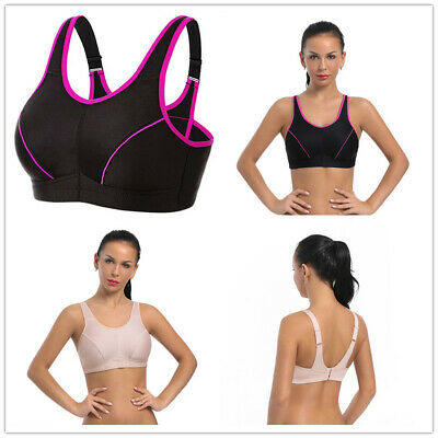 Women Sports Bra High Impact Shock Absorber No Pad Wirefree Bra Plus Size Cup