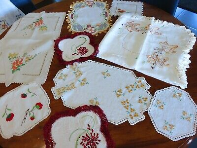 Vintage Linen- tablecloth, doilies embroidered