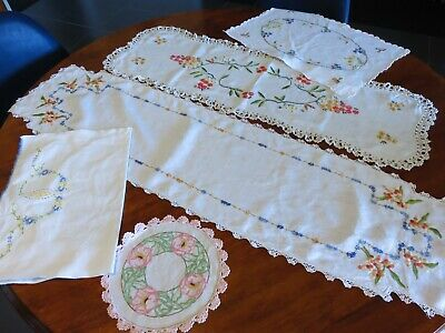 Vintage Linen- embroidered doilies runners flower designs