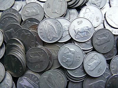 Lot Of Four Different Irish Decimal Large Five Pence Coins - Charging Bull