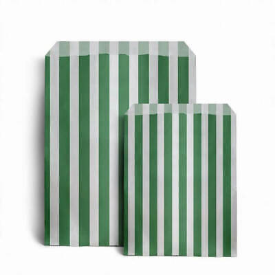 "100 x GREEN CANDY STRIPE PAPER BAGS SWEET WEDDING GIFT SHOP PARTY 5"" x 7"""