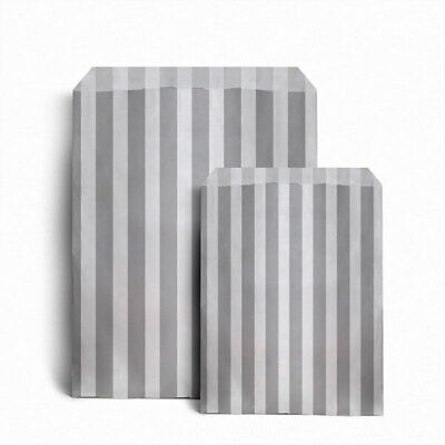 "100 x GREY CANDY STRIPE PAPER BAGS SWEET WEDDING GIFT SHOP PARTY 5"" x 7"""