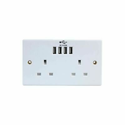 Unswitched Double Wall Plug Socket 2 Gang 13A 4 USB Charger Port Outlet Plate