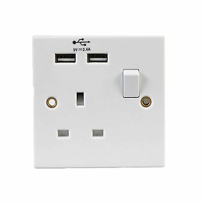 Single Wall Plug Socket 1 Gang 13A with 2 USB Charger Port Outlets White Plate
