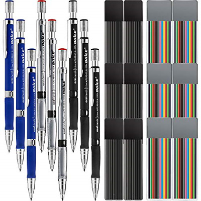 21 Pieces 2.0 mm Mechanical Pencil Set 9 Pieces Automatic Pencils and 12 Cases