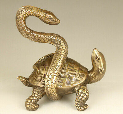 Big chinese old bronze hand casting tortoise snake statue tea pot decoration