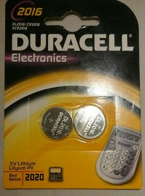 2 x Duracell CR2016 batteries Lithium Coin Cell DL2016 3V Pack of 2 FASTP&P