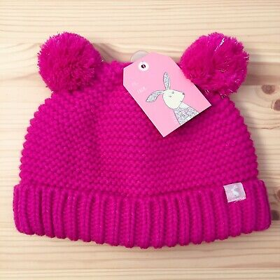 Joules Baby Joule Pom Pom Girl Hat 6-12 Months Pink Chunky Knitted Bobble Hat
