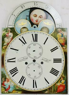 Beautiful Antique Painted Moonphase 8 Day Longcase Grandfather Clock Dial 20x14